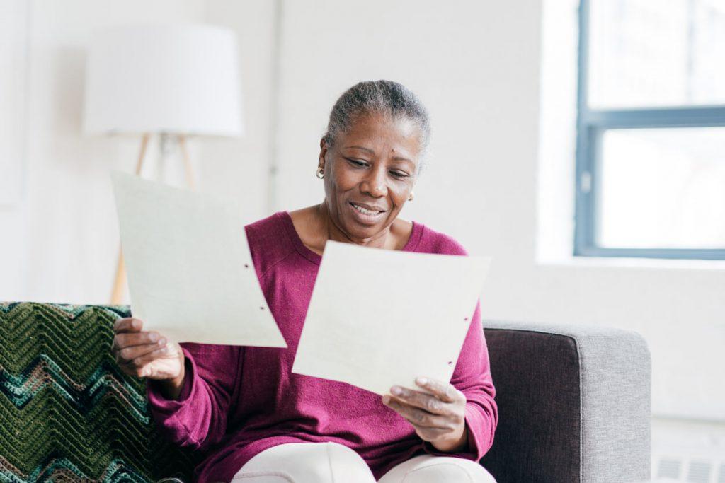 woman reviewing estate plan